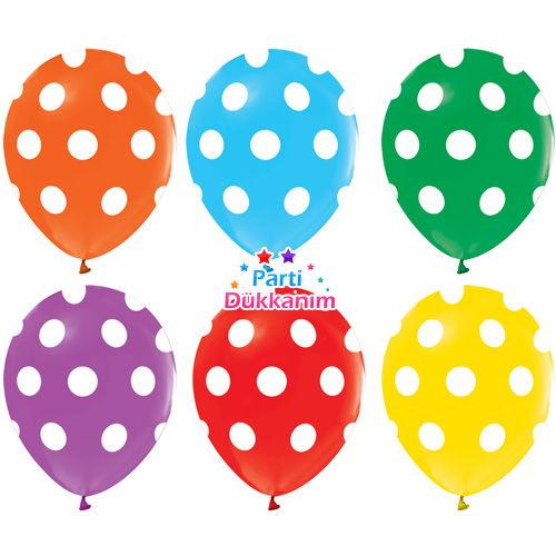 Puantiyeli Balonlar Karışık (15 ) Adet