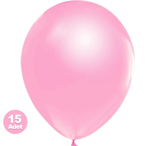 Pembe Balon Sedefli 15 Adet