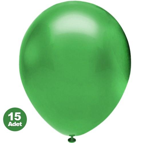 Yeşil Balon Metalik 15 Adet, fiyatı