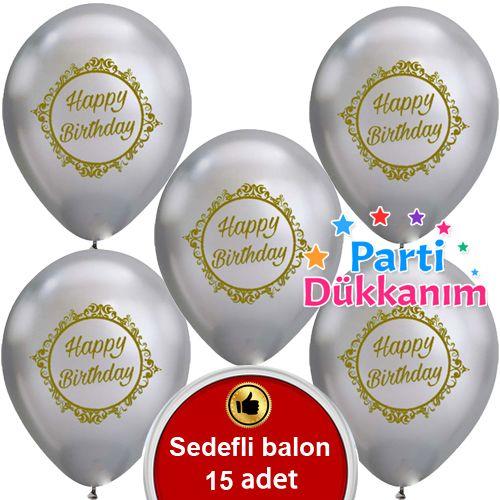 Sedefli Gri Üzeri Gold Happy Birthday Baskılı Balon (15 Adet)