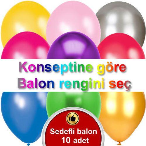 Konseptine Göre Metalik Balonlar 10 Adet, fiyatı