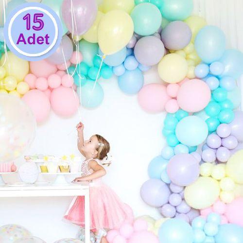 Makaron Pastel Balon Karışık Renk 100 Adet