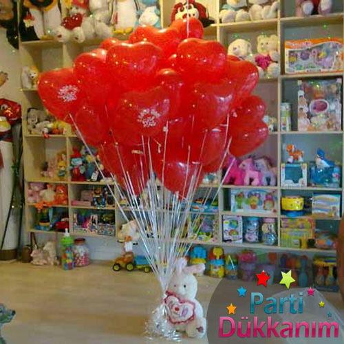 Sevgililer Günü Uçan Balon 15 Kalpli 2 Adet Folyo Balon MAĞAZADAN