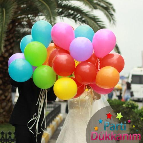 Karışık Renkli Uçan Balon 25 Adet MAĞAZADAN