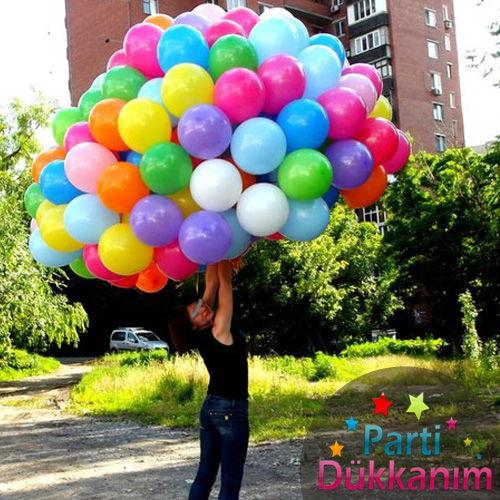Karışık Renkli Uçan Balon Demeti 100 Adet MAĞAZADAN