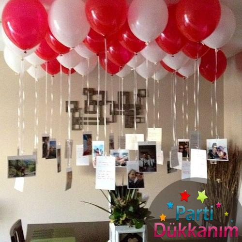 Kırmızı-Beyaz Uçan Balon Demeti 25 Adet MAĞAZADAN
