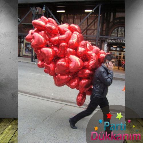 Kırmızı Kalpli Folyo Uçan Balon 60 Adet MAĞAZADAN