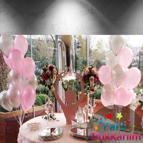 Gümüş Pembe Uçan Balon 25 Adet MAĞAZADAN