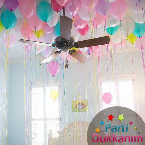 Karışık Renkli Sedefli Uçan Balon 75 Adet MAĞAZADAN