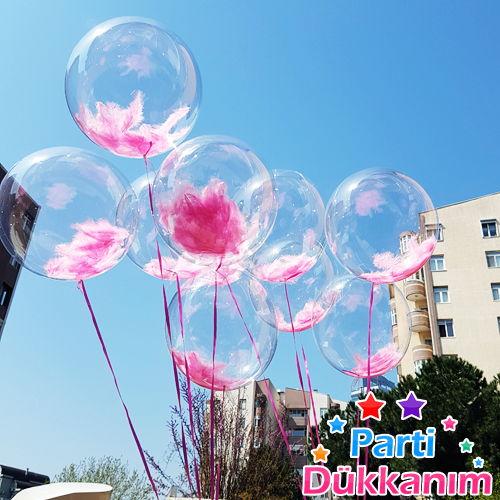 Şeffaf Tüylü Uçan Balon Demeti MAĞAZADAN