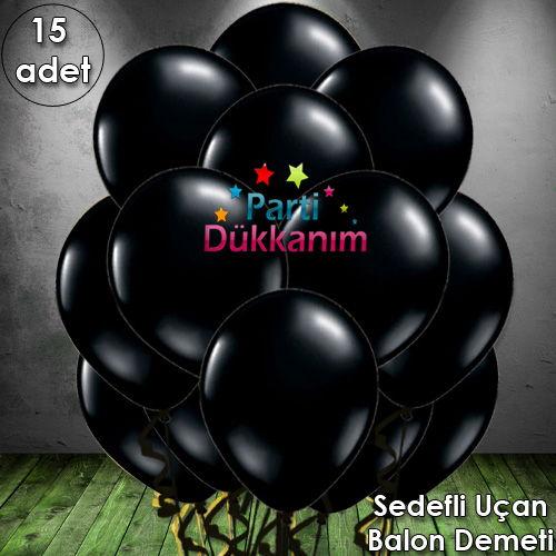Siyah Uçan Balon Demeti (15 Adet) MAĞAZADAN