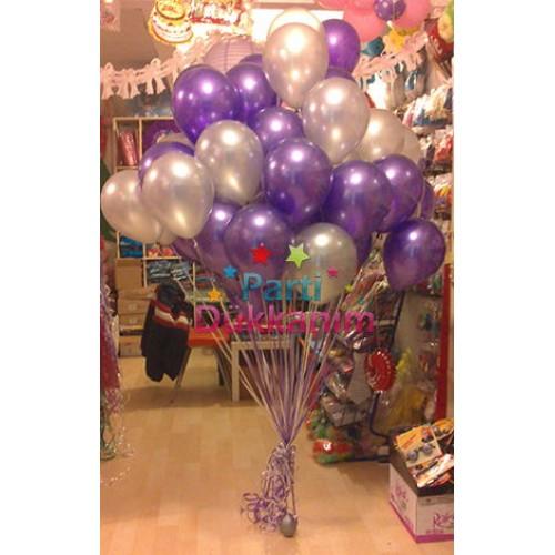 Uçan Balon Sedefli Mor-Gri 50 Adet MAĞAZADAN