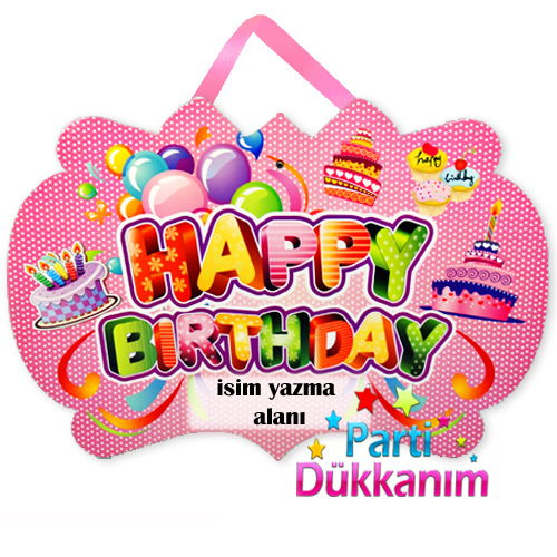 Happy Birthday Asma Süs Pankart Pembe