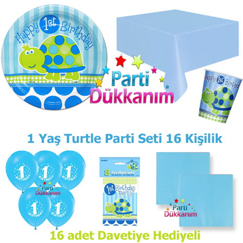 1 Yaş Turtle Parti Seti 16 Kişilik