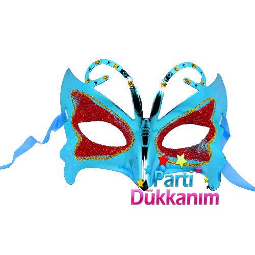 Kelebekli Plastik Simli Maske Mavi