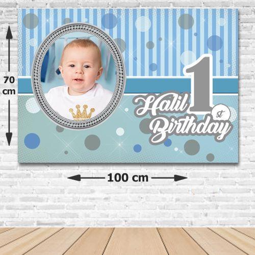 1 Yaş First Birtday Boy Kişiye Özel Doğum Günü Parti Afişi 70*100 cm