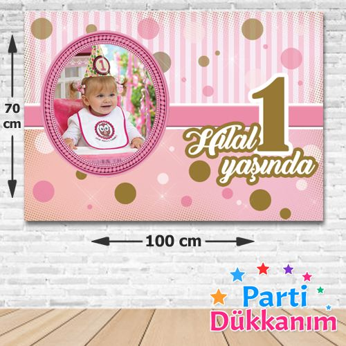 1 Yaş First Birtday Girl Kişiye Özel Parti Afişi 70*100 cm, fiyatı