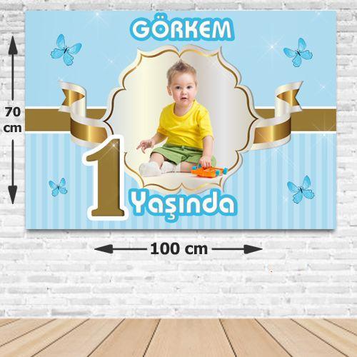 1 Yaş Gold Kişiye Özel Doğum Günü Parti Afişi 70*100 cm