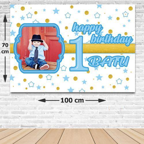 1 Yaş Mavi Yıldızlar Doğum Günü Parti Afişi 70*100 cm, fiyatı