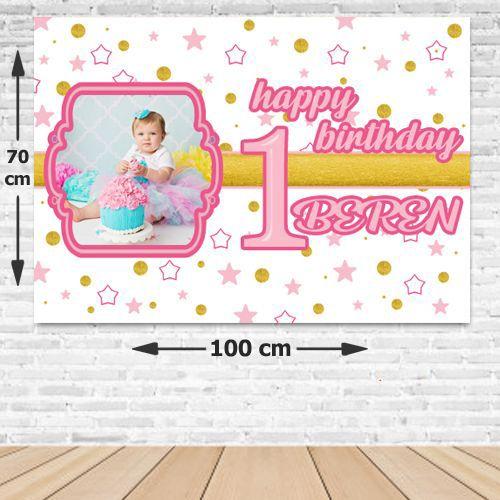 1 Yaş Pembe Yıldızlar Doğum Günü Parti Afişi 70*100 cm, fiyatı