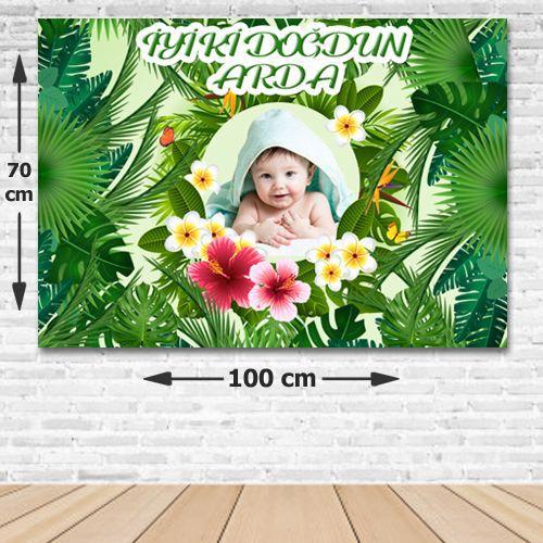 Tropikal Yapraklar Doğum Günü Parti Afişi 70*100 cm, fiyatı