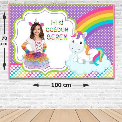 Unicorn Doğum Günü Parti Afişi 70*100 cm, fiyatı