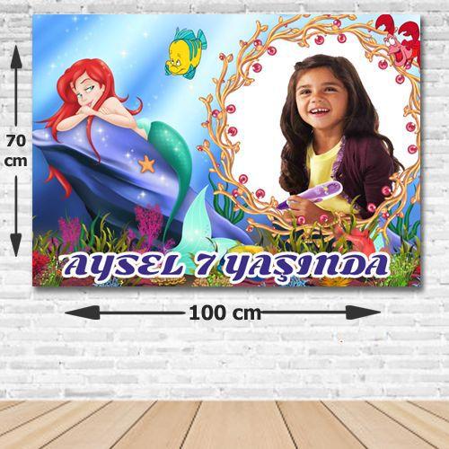 Deniz Kızı (Ariel) Kişiye Özel Parti Afişi 70*100 cm, fiyatı