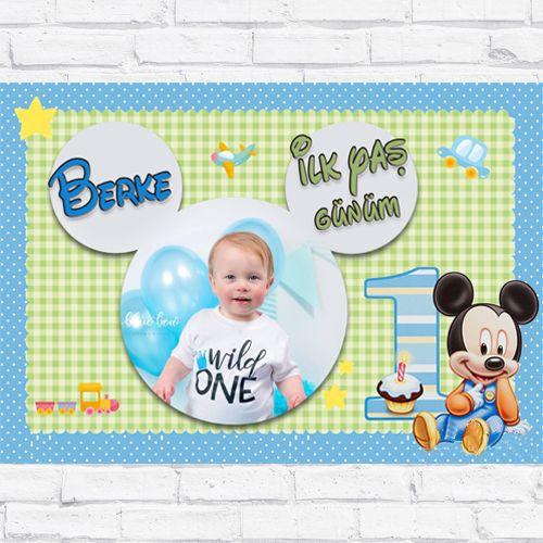 1 Yaş Baby Mickey Mouse Doğum Günü Parti Afişi 70*100 cm, fiyatı