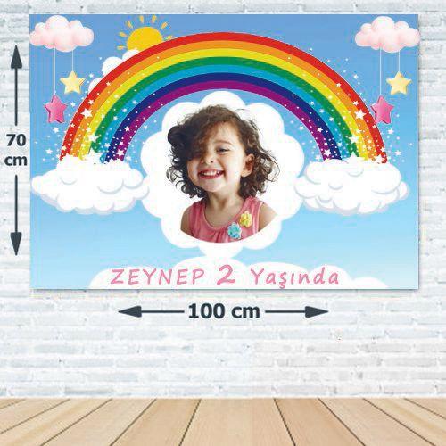Gök Kuşağı Doğum Günü Parti Afiş 70*100 cm