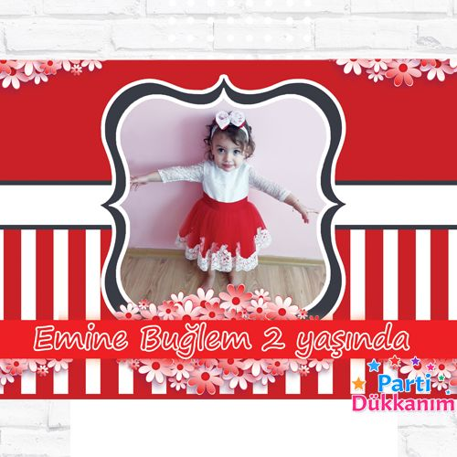 Kırmızı-Beyaz Doğum Günü Parti Afiş 70*100 cm, fiyatı