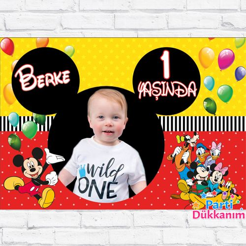 Mickey Mouse Doğum Günü Parti Afişi 70*100 cm, fiyatı