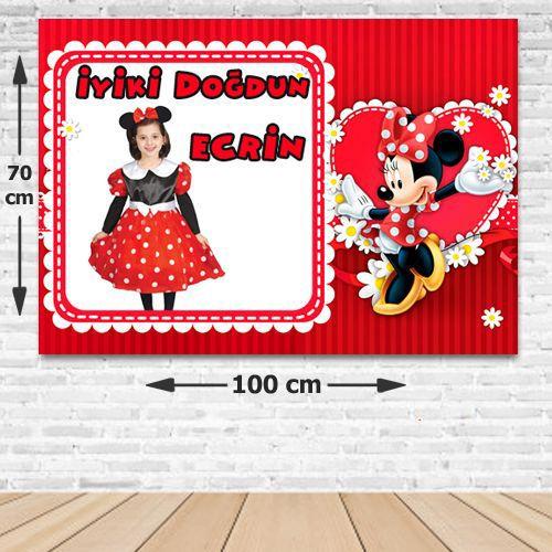 Minnie Mouse Kişiye Özel Parti Afişi Kırmızı 70*100 cm, fiyatı