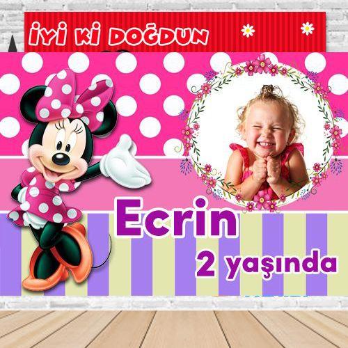 Minnie Mouse Kişiye Özel Parti Afişi 70*100 cm