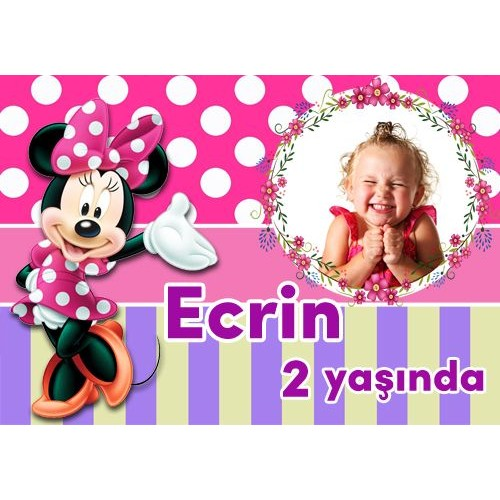 Minnie Mouse Kişiye Özel Parti Afişi 70*100 cm, fiyatı
