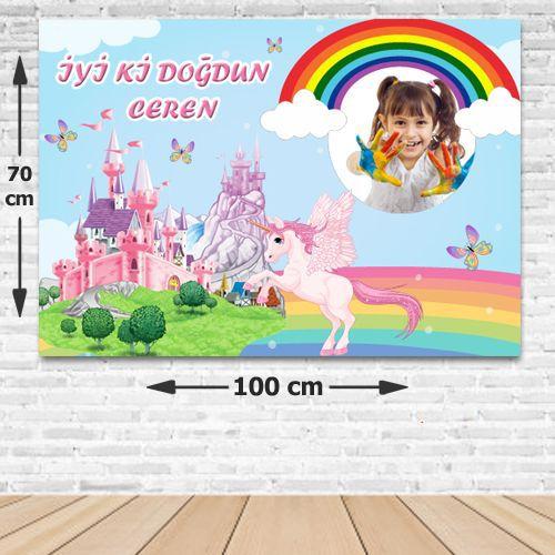 Unicorn Şatolu Doğum Günü Parti Afişi 70*100 cm