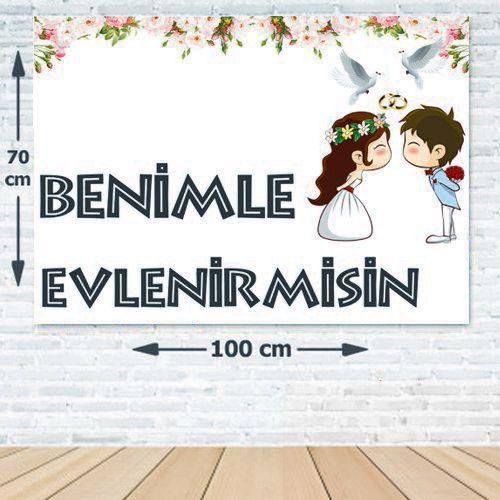 Benimle Evlenirmisin Evlilik Teklifi Afişi 70*100 cm, fiyatı