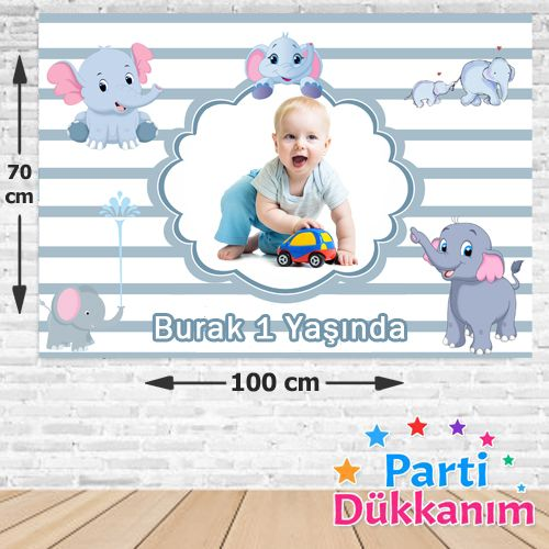 Fil Temalı Kişiye Özel Doğum Günü Parti Afişi 70*100 cm, fiyatı