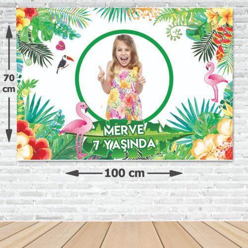 Tropikal Flamingo Parti Afişi 70*100 cm, fiyatı