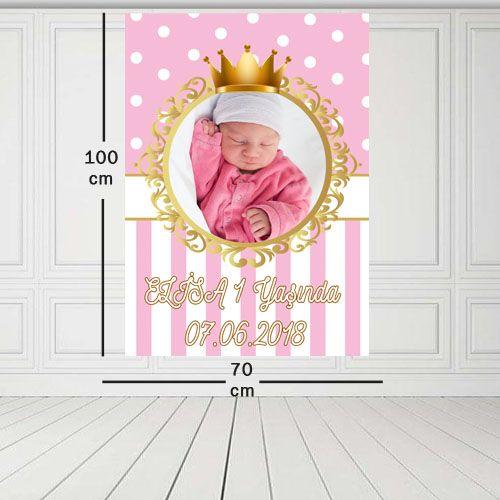 Pembe Gold Kişiye Özel Doğum Günü Parti Afişi 70*100 cm