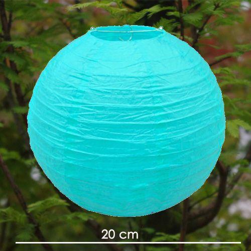 Açık Mavi Yuvarlak Fener Süs (20 cm)