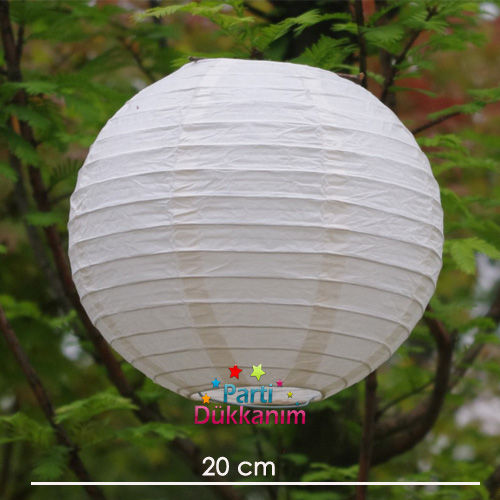 Beyaz Yuvarlak Fener Süs 1 adet (20 cm)