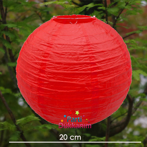 Kırmızı Yuvarlak Fener Süs 1 adet (20 cm)
