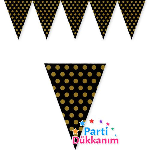Siyah Üzeri Gold Puantiye Bayrak (180 cm), fiyatı