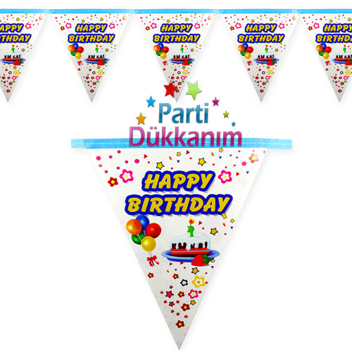 Happy Birthday Flama Bayrak Mavi (2 metre)