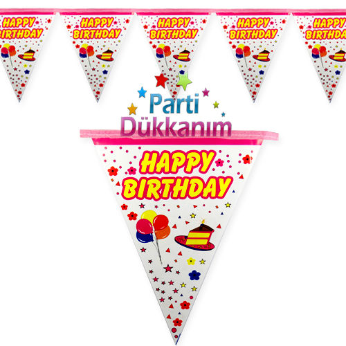 Happy Birthday Flama Bayrak Pembe (2 metre)