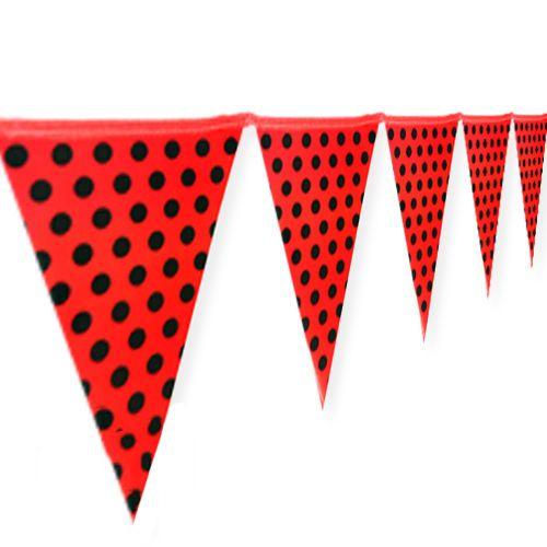 Kırmızı Üzeri Siyah Puanlı Flama Bayrak (2 m.), fiyatı