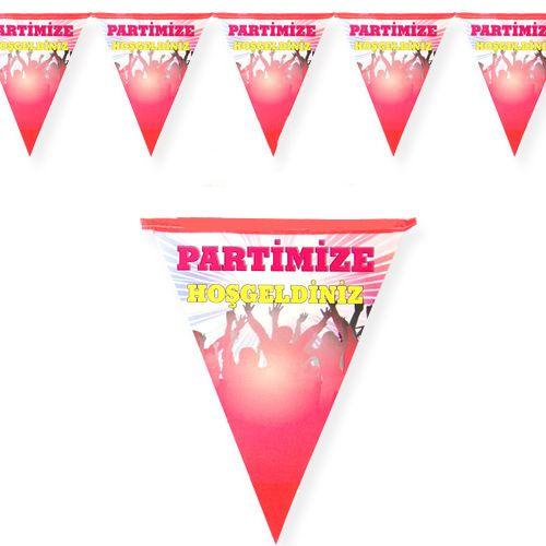 Partimize Hoş geldiniz Flama Bayrak Pembe (2 m.), fiyatı