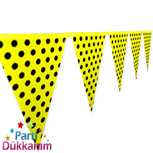 Sarı Puantiyeli Bayrak Süs (2 m.), fiyatı