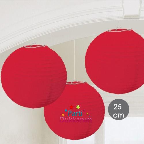 Kırmızı Yuvarlak Fener Süs 1 adet (25 cm), fiyatı