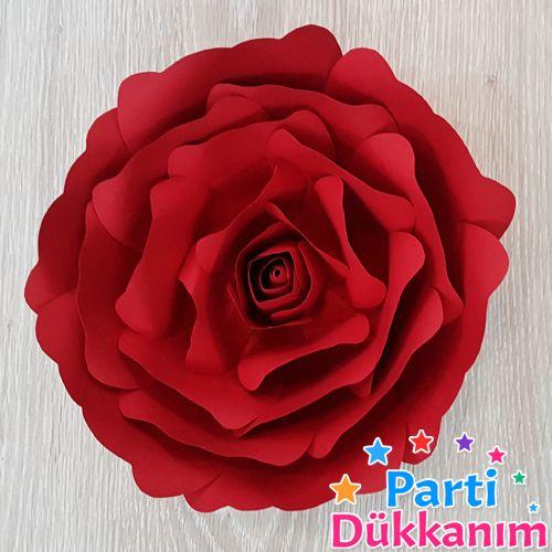 Kırmızı Kağıt Gül Çiçek Goncalı 1 Adet (28 cm)